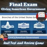 Final Exam Civics American Government & Review Game Editable(Grades 8-12)
