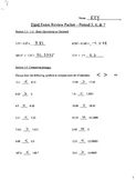 Final Exam Review Packet - 7th Grade Math - Answer Key