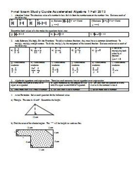 Final Exam Study Guide Accelerated Algebra 1 Fall 2013