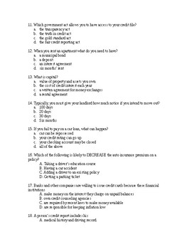 Final Exam for Personal Finance - T/F, Multiple Choice, Short Answer TEST