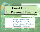 Final Exam for Personal Finance - T/F, Multiple Choice, Sh