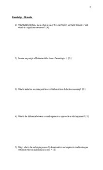 Final Exam for Philosophy 12 in Ontario ( HZT4U )