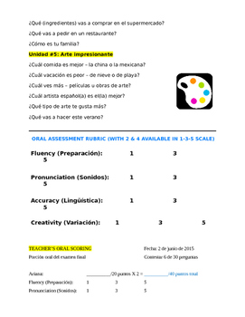 Final Exam for Spanish 3 - Intermedio: Speak, Listen, Read, Write