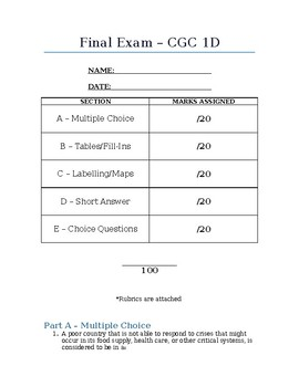 Final Examination for Grade 9 Geography