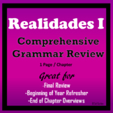 Realidades I - Grammar Review - One page per chapter