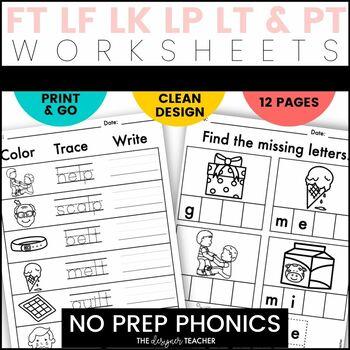 NO PREP Print & Go Final Blends Word Work {FT, LF, LK, LP, LT, & PT}