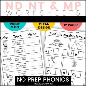 NO PREP Print & Go Final Blends Word Work {ND, NT, & MP}