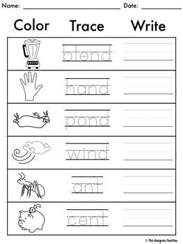 NO PREP ND NT MP Phonics Worksheets Final Blends Word Work