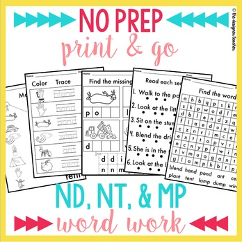 NO PREP ND NT MP Phonics Worksheets Final Blends Word Work
