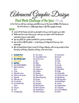 Final Photo Challenge for Graphic Design, Photo, Yearbook Courses