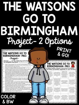 Final Projects- Bingo Style, Choice - The Watsons Go to Birmingham- 1963