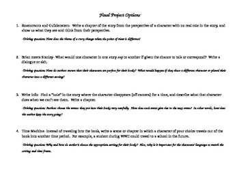 Final Project Options/Assessment