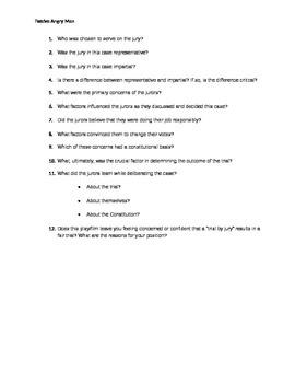 Final Quiz over Twelve Angry Men