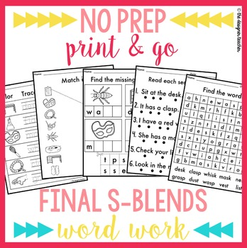 NO PREP Print & Go Final S Blends Word Work {ST, SK, & SP}