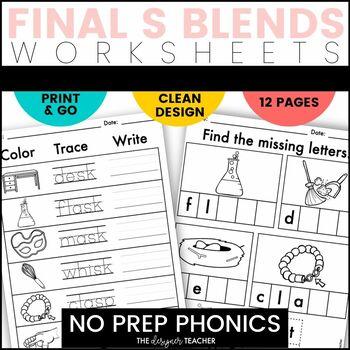 NO PREP Final S Blends ST SK SP Phonics Worksheets Word Work