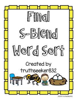 Final S-Blends Word Sort