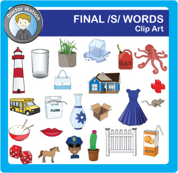 Final /S/ words Clipart in Color and B&W