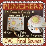 Final Sounds: CVC Hole Punch - 42 Task Cards - 4 Activities
