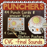 Final Sounds: CVC Hole Punch - 42 Task Cards - 4 Activities