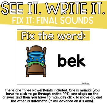 Final Sounds Fix It - See it. Write it. Interactive PowerPoint
