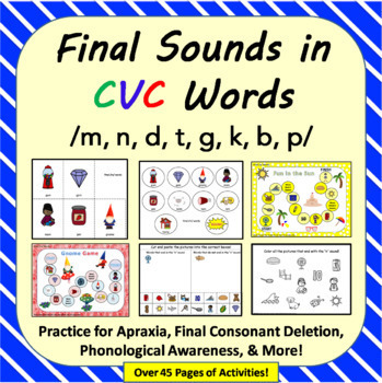 Final Sounds in CVC Words: Apraxia Cards, Final Consonant Deletion, Articulation