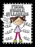 Final Stable Syllable Bundle - cle, kle, dle, ble, gle, tle, ple - No Prep