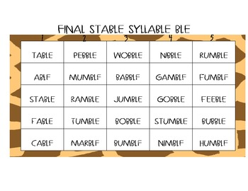 Final Stable Syllable Center Game
