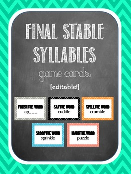 Final Stable Syllable Game Cards {120 editable cards!}