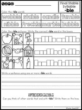 Final Stable Syllable Practice Packet
