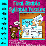 Final Stable Syllable Puzzles: Distance Learning -ble, -cle, -dle, -fle and more