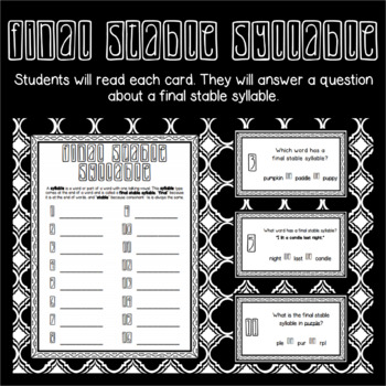 Final Stable Syllable Task Cards