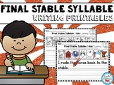 Final Stable Syllable Writing Worksheets
