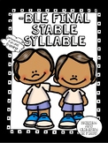 Final Stable Syllable -ble - Word Work! No Prep!