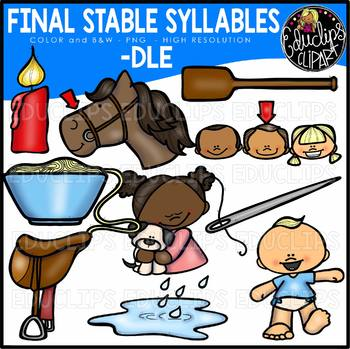 Final Stable Syllables -DLE {Educlips Clipart}