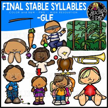 Final Stable Syllables -GLE {Educlips Clipart}