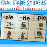 Final Stable Syllables -LE Picture Sort, Clip Cards and Printables