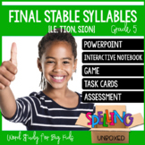 Final Stable Syllables (LE, SION, TION) Spelling Word Work Unit