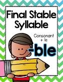 Final Stable Syllables -LE Sound {-BLE}