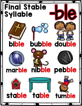 Final Stable Syllables -LE Sound {-BLE}