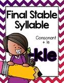 Final Stable Syllables -LE Sound {-KLE}
