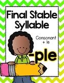 Final Stable Syllables -LE Sound {-PLE}