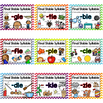 Final Stable Syllables -LE Sound Worksheets and Centers {BUNDLE}