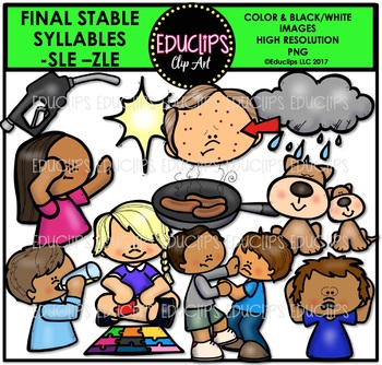Final Stable Syllables -SLE & -ZLE {Educlips Clipart}