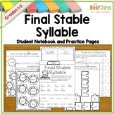 Final Stable Syllable Practice Pages for Syllable Consonan