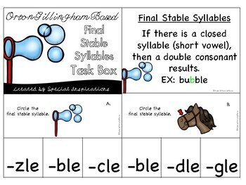 Final Stable Syllables Task Box (Orton-Gillingham)