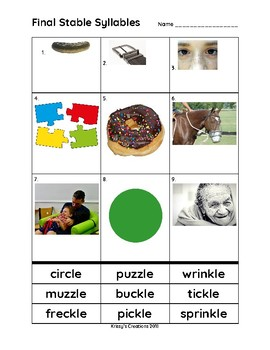 Final Stable Syllables -cle, -kle, zle Cut and Paste Match