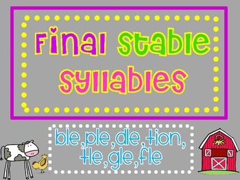 Final Stable Syllables by Sara Sandel | Teachers Pay Teachers
