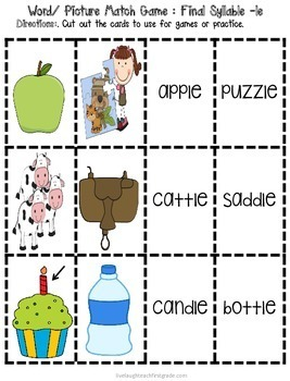 Phonics Interactive Notebook- Final Syllable Consonant + LE