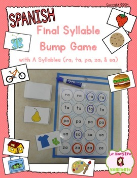 Bump Game: Final Syllables with A (Spanish)