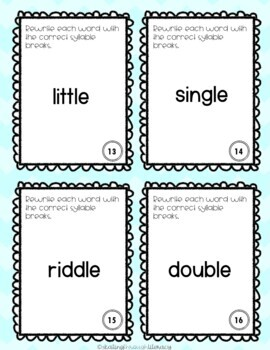 Final Syllable -le Task Cards